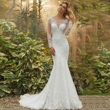 Платье Свадебное в стиле бохо с круглым вырезом, длинным рукавом и аппликацией
