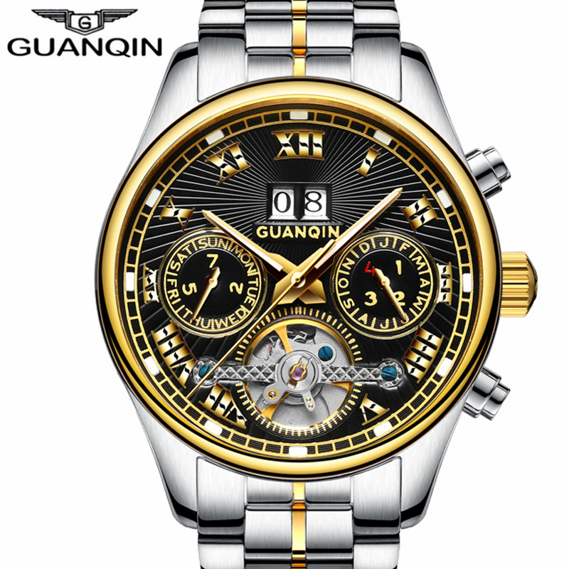 GUANQIN Luxury Brand Auto Mechanical Watch Men Luminous Wristwatches Mens Watches Chronograph Male Wirstwatch Relogio MasculinoGUANQIN Luxury Brand Auto Mechanical Watch Men Luminous Wristwatches Mens Watches Chronograph Male Wirstwatch Relogio Masculino