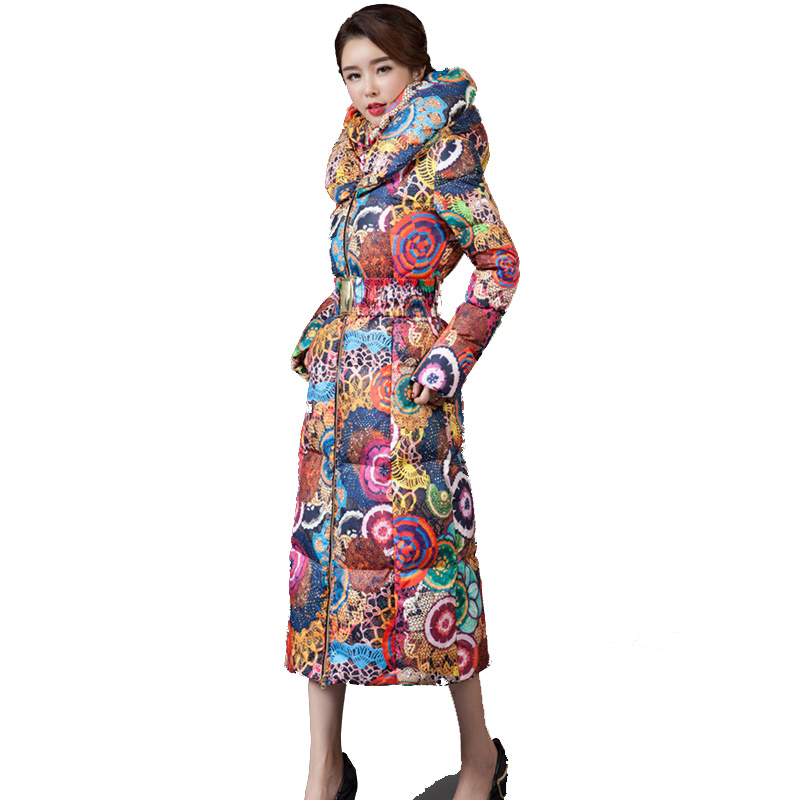 2017 New Wadded Parka Thick Floral Jackets Women Winter Coat  Jacket,Abrigos Mujer,Big Size Long Over Knee Hooded Outwear C2283 maxi coats winter jacket women hooded letter bread cotton coat thick long parka abrigo mujer wadded padded jackets outwear