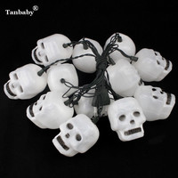 Tanbaby Halloween LED String Light 5M 20LEDs Skull Waterproof Holiday Ghost LED Lighting EU US Plug