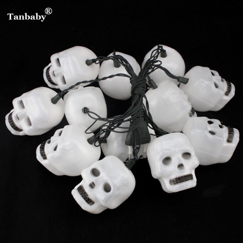 Tanbaby Halloween LED String Light 5M 20LEDs Skull Waterproof Holiday Ghost LED Lighting EU/US Plug Outdoor Garland Decoration