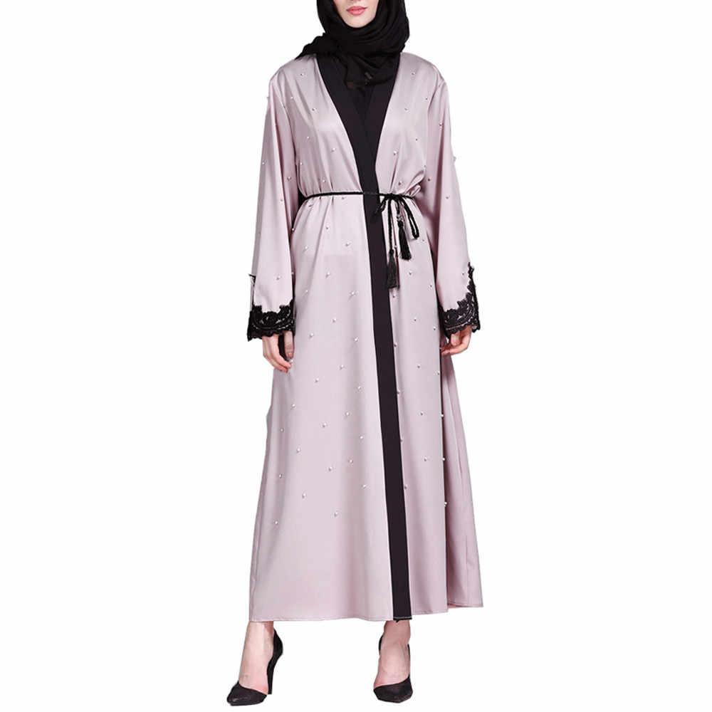 CHAMSGEND мусульманские, исламские женщины Костюмы Кружева Сращивание длинное пальто Ближний Восток длинный халат хиджаб Абая для женщин платье C30118