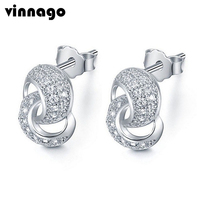 Women's Double Circle Stud Earrings Jewelry White Gold Color Micro Pave Cubic Zirconia Geometric Earrings Female Gift