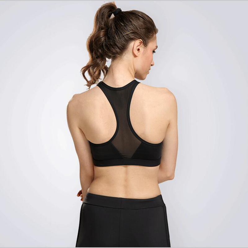 14951d3479bd6 Cut front detail Sport bras women Yoga Pilates Weight room Sexy Gym sports  bra Mesh back Quick dry fabric Removable padding bra-in Sports Bras from  Sports ...