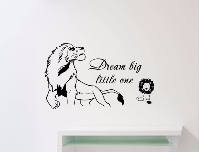 Personality slogan cartoon animation Simba lion vinyl wall decal boy child teen bedroom movable art deco mural ER56