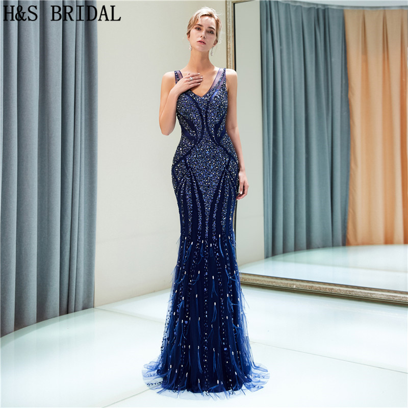 H&S BRIDAL Mermaid evening dresses long Navy Blue Evening Gown V neck Sexy Evening Dress Luxury Prom Dresses abiye abendkleider
