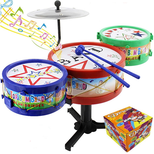 Mini Child Colorful Rock Roll Jazz Drum Set Music Instruction