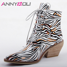 ANNYMOLI Autumn Ankle Boots Women Mixed Colors Thick High Heel Short Boots Lace Up Pointed Toe Lady Shoes Spring Big Size 35-43 цены онлайн
