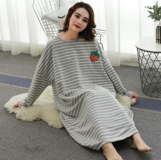 Fdfklak Casual loose nightgown women long sleeve night dress large size women's sleepwear gown nightdress female nightshirt