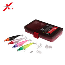 XTS Fishing Lure Sinking Hard Pencil 65mm 7g/85mm 13g 4 Pieces In One Set With Box Strong Hooks Barb Baits 5331