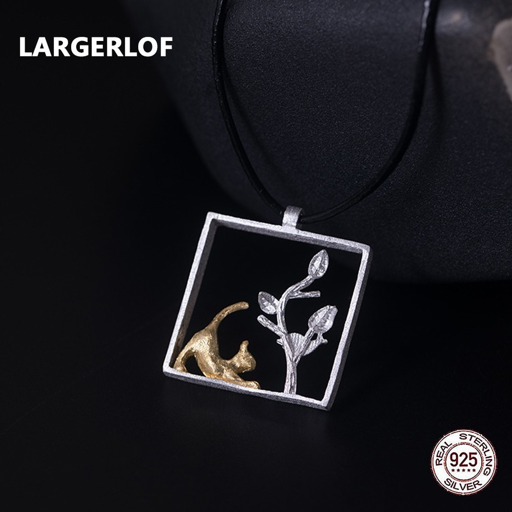LARGERLOF 925 Sterling Silver Necklace Pendants Cat And Tree Silver 925 Jewelry Pendant For Women PD31111 the new cat cat 925 sterling silver garnet necklace pendant jewelry wholesale brand ethnic fashion