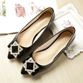 Free shipping new diamond square buckle pointed flat shoes with flat shoes large size shoes soft Didan