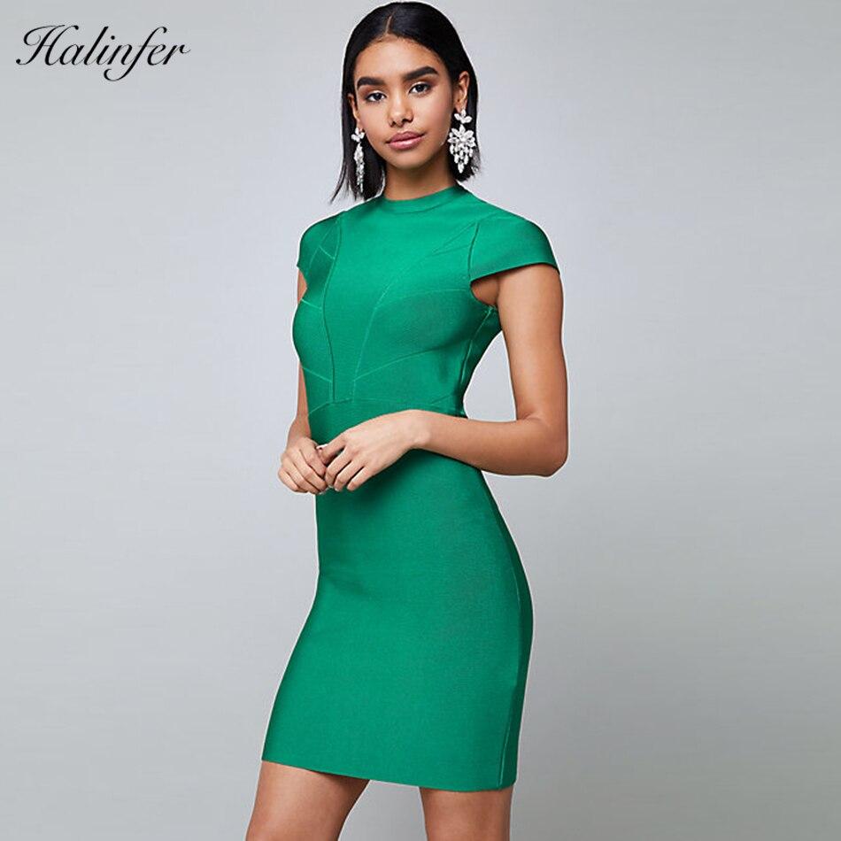Halinfer 2018 New summer women dress sexy bodycon cascading ruffle dress chic celebrity party sweet  green  dresses vestidos