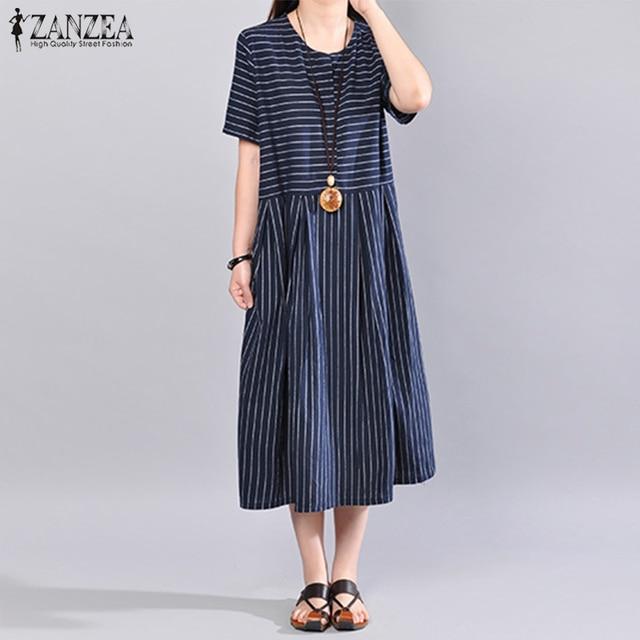 9b62c0c70c6b S 5XL ZANZEA 2018 Summer Women Striped Dress Casual Loose Long Maxi Dresses  Cotton Linen Vestido Short Sleeve Beach Robe Femme