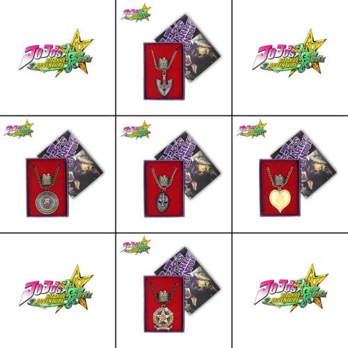 JoJo's Bizarre Adventure Jotaro Kujo Killer Queen Arrow ASB Metal Pendant+Ring+Necklace Chain Box Ornament Collection Gifts Cool