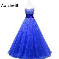 Синие вечерние платья для выпускного вечера без бретелек с бусинами из органзы бальное платье для выпускного вечера длина до пола корсерт с