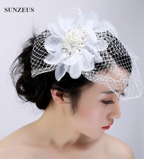 Nuevo Diseño de La Boda Tocados de Flores de Perlas Rhinestone Sombrero Birdcage Velo de Tul SQ014