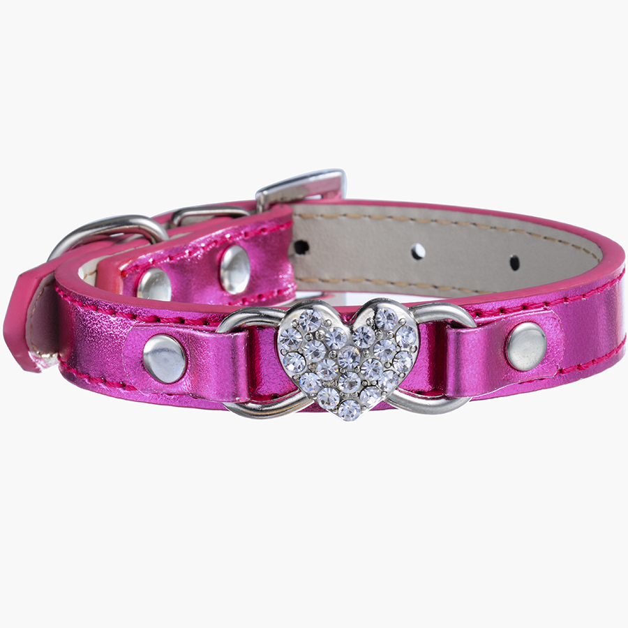 chihuahua collars ldc012 chihuahua dog leather collar rhinestones heart for 6059