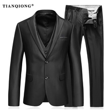 TIAN QIONG (Jackets+Pants+Vest) Slim Fit Suits Men Notch Lapel Business Wedding Groom Leisure Tuxedo Latest Coat Pant Designs
