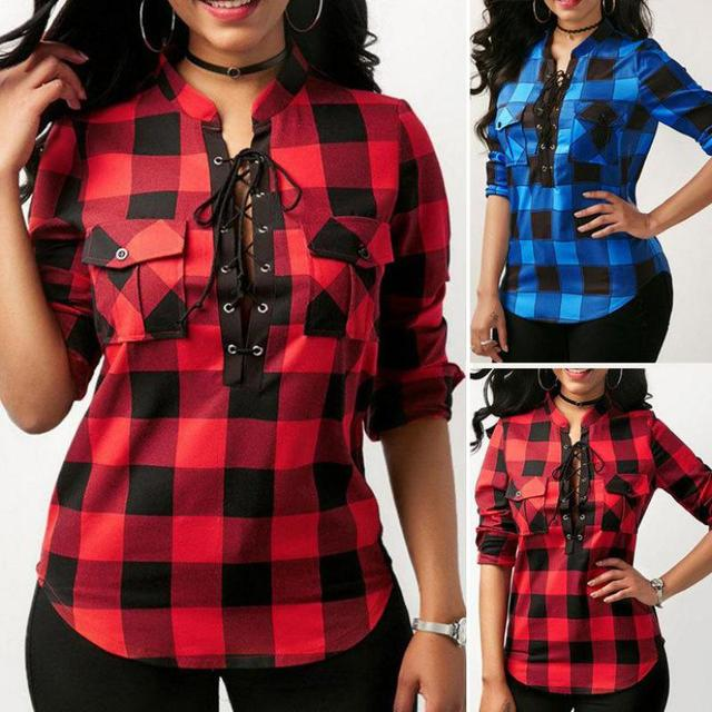 Plaid Plus Size Shirts For Women 2019 Spring Long Sleeve Stand Collar Blouses Shirt Office Lady Cotton Lace Up Tunic Casual Tops 2