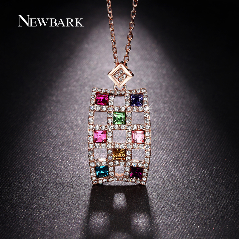 font b NEWBARK b font Rectangle Lattice Multicolor Crystal Pendant font b Necklace b font