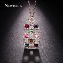 NEWBARK Rectangle Lattice Multicolor Crystal Pendant Necklace Big Ethnic Rose Gold Color Cable Chain Fashion Women