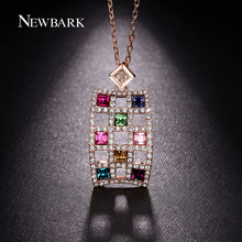 NEWBARK Rectangle Lattice Multicolor Crystal Pendant Necklace Big Ethnic Rose Gold Plated Cable Chain Fashion Women