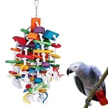 Игрушечные попугаи для домашних животных деревянная подвесная клетка игрушки для попугаев птица Забавный висячий стоячая игрушка для домашних животных Птицы тренировочные принадлежности