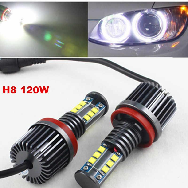 Fsylx 1set 120w H8 Led Marker Angel Eyes Bulb For Bmw X5 E70