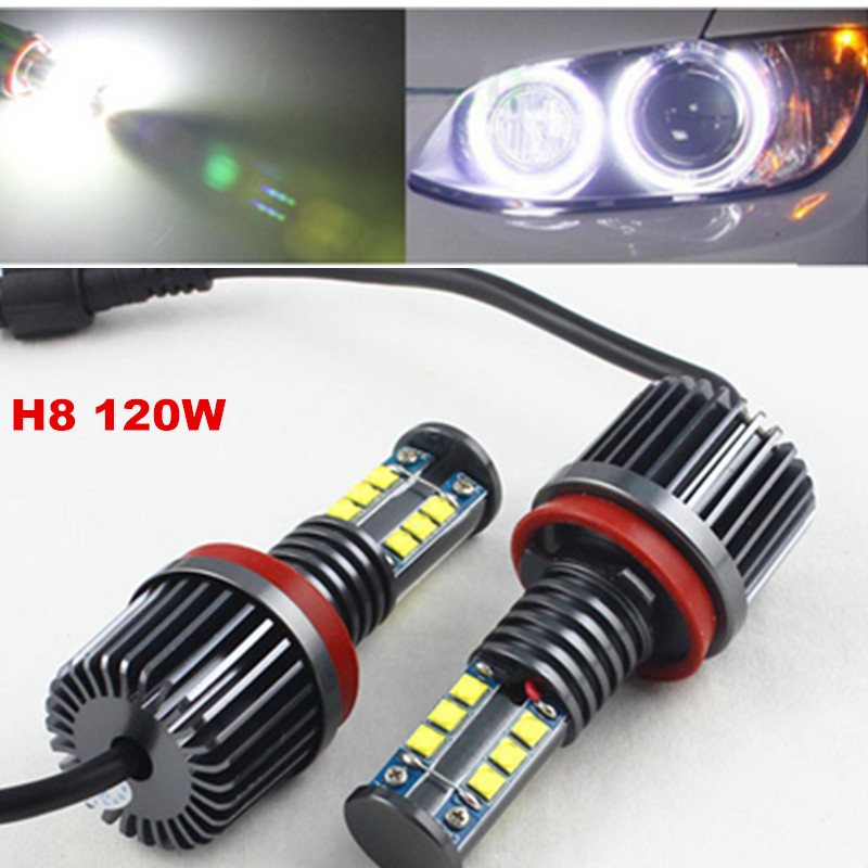 FSYLX 1Set 120W H8 LED marker Angel Eyes bulb for BMW X5 E70 X6 E71 E90 E91 E92 M3 E60 xenon white headlight drl Angel Eyes lamp rockeybright 12v 40w bright led marker headlight bulb for bmw e90 e90 lci 7000k white led angel eyes for bmw e90 led headlight