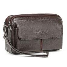 Men Vintage 100% Genuine Leather Business Clutch Bags Mobile