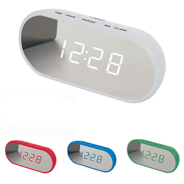Bedroom electric mirror LED alarm clock with snooze function Home modern decor table clock Candy color mini digital alarm clock