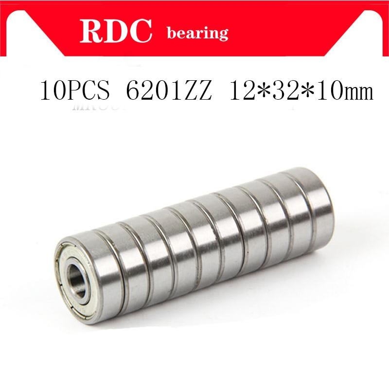10PCS ABEC-5 6201ZZ 6201Z 6201-2Z 6201 ZZ 12*32*10 Mm Metal Seal High Quality Deep Groove Ball Bearing 12x32x10mm