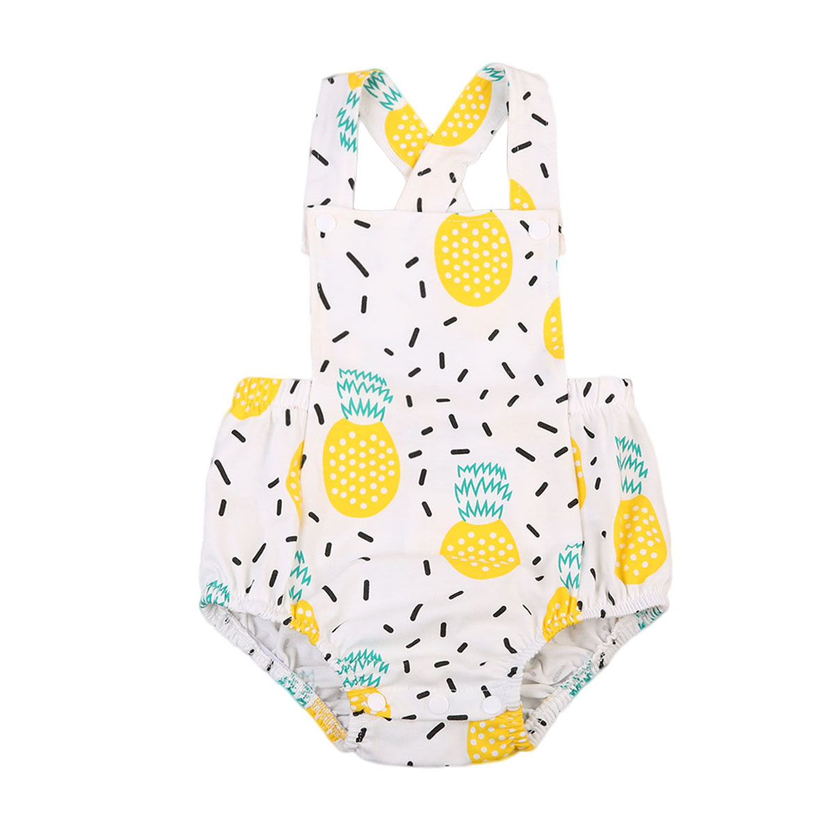 Cute Baby Girl Clothes Pineapple Print Sleeveless   Romper   Back Cross Jumpsuit Outfit Playsuit Sunsuit Clothing