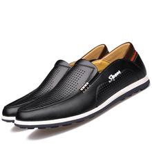 Spring Summer Men's Leather shoes Male Business Dress Formal Wear Casual Sandals Male British Hollow ventilation