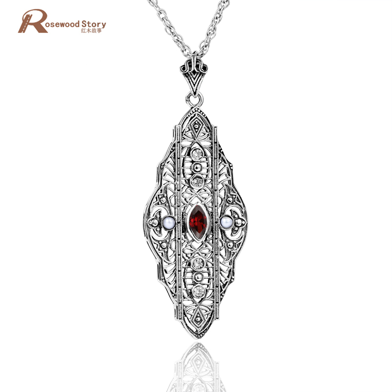 Trendy Red Cubic Zircon Crystal Pendants Genuine 925 Sterling Silver Charms Princess Diana William Engagement Pendants For Women
