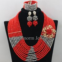 New Arrived Nigeria Wedding Beads Set Necklace Red Silver Africa Beads Women Crystal Jewelry Sets Free