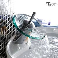 Copper Round Glass Waterfall Basin Faucet Single Lever Mixer Tap Cylindrical Chrome Bathroom Kitchen Sink Faucets