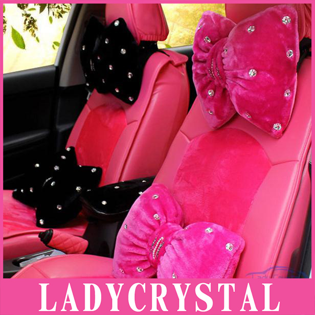 Ladycrystal Diamond Car Styling Soft Wool Plush Cushions Auto Car Headrest Neck Waist Pillow