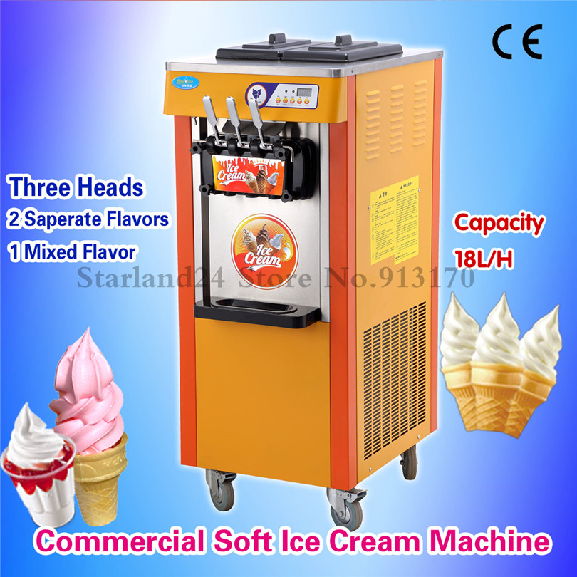 Commercial Soft Ice Cream Machine Sundae Soft Serve Ice Cream Maker with Casters 220V 3 Heads 2 Flavor and 1 Twist 20l h soft ice cream making maker machine 10 2l mini 3 flavor maquina de sorvete soft serve ice cream machine with ce