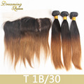 3 Bundles of T1B/30 Mink Brazilian Straight Virgin Hair With Lace Frontal 8A Brazilian Straight Weaves With 13x4 Lace Closure