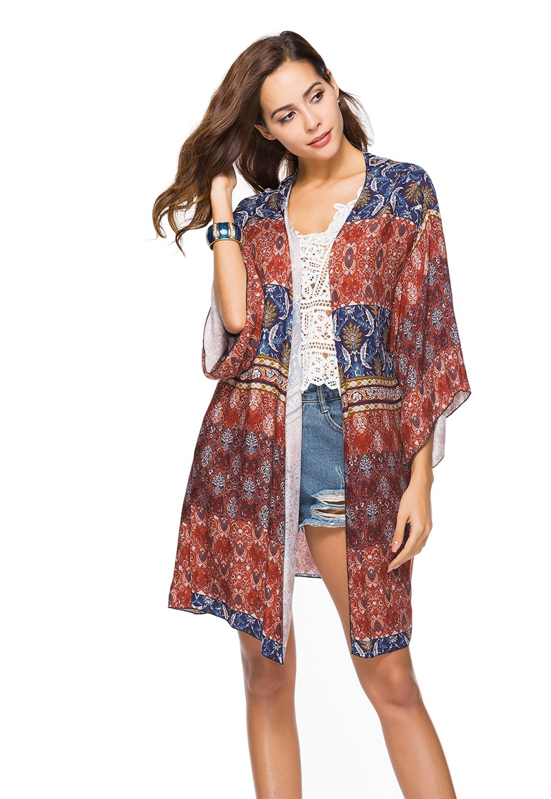 2018 Print Beach Bikini cover up blouse bathing Suit slim Loose beach dress Cardigan tunic pareo saida de praia Long Sleeve top