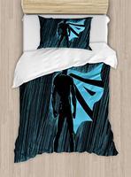 Superhero Duvet Cover Set Hero, Night Dramatic Super Defender Macho Pride Neon Male Illustration Decorative 3 Piece Bedding Set