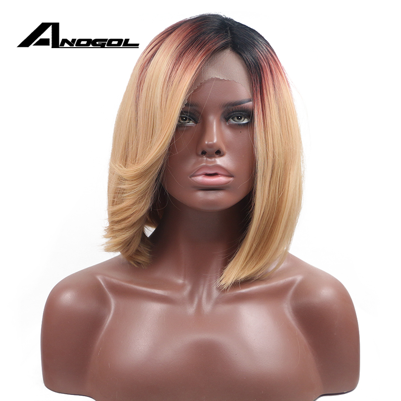 Anogol High Temperature Fiber Straight 3 Tones Black Wine Red Ombre Blonde Short Bob Synthetic Lace Front Wig with Side Part