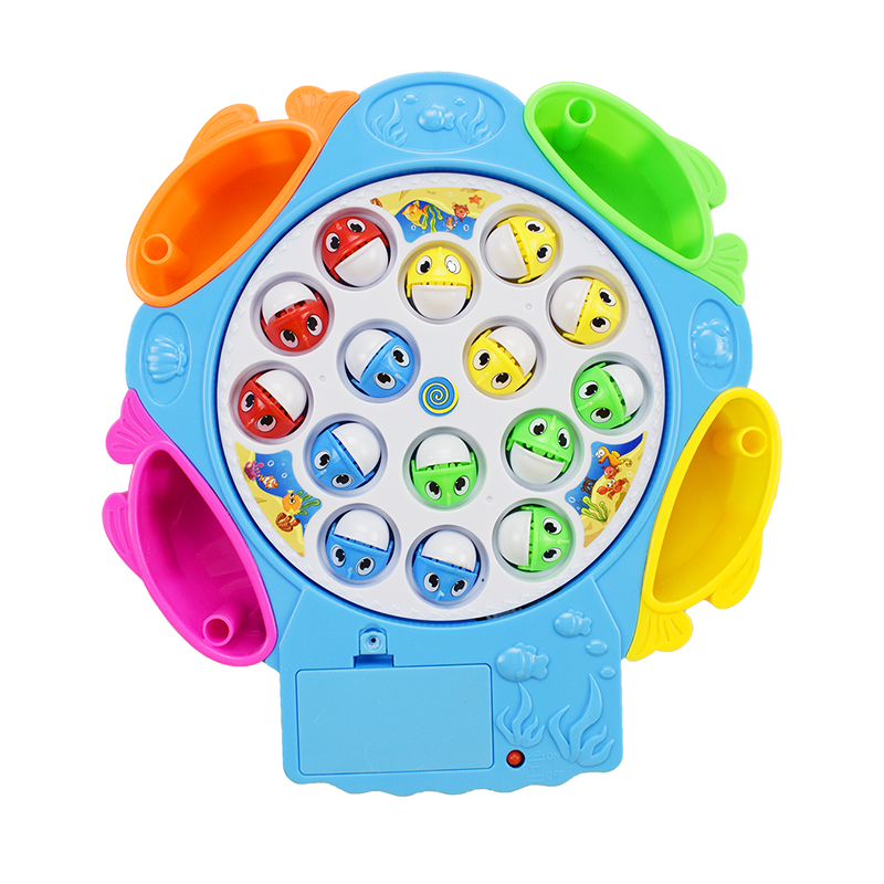 1 Pcs/Lot Fishing Toys Set Children Educational Toys Musical Gifts Electric Rotating Fishing Game No Magnetic Sports Toys