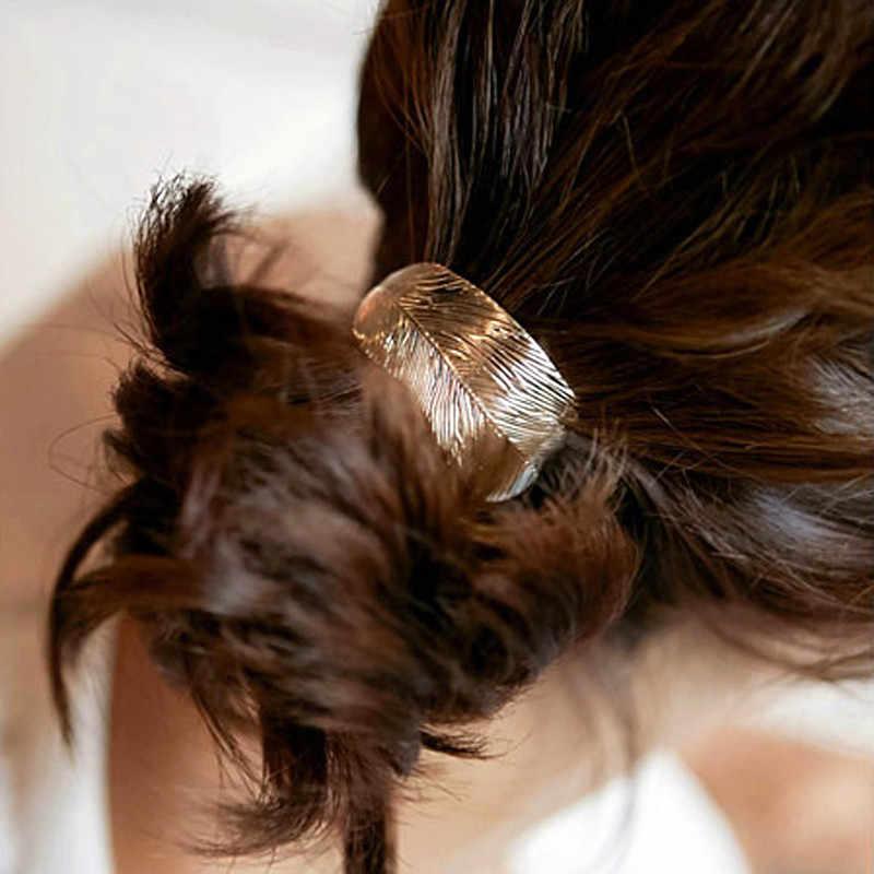 Hot 1Pc Women Leaf Triangle Vintage Hair Ties Elastic Hair Rope Ponytail Holder Metal Hair Jewelry
