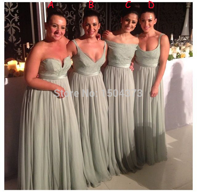 2015 New Sage Green Long Bridesmaid Dresses 4 Different Neckline To