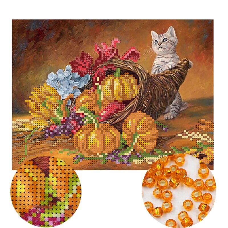 Needlework,DIY Bead Cross Stitch,Embroidery Stitch Cat,women Precise Printed Scenic Pattern Cross Stitching,wall Decoration