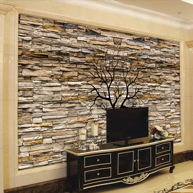 Custom photo wallpaper 3d stone wall trunk wallpaper - Papel decorativo para paredes ...