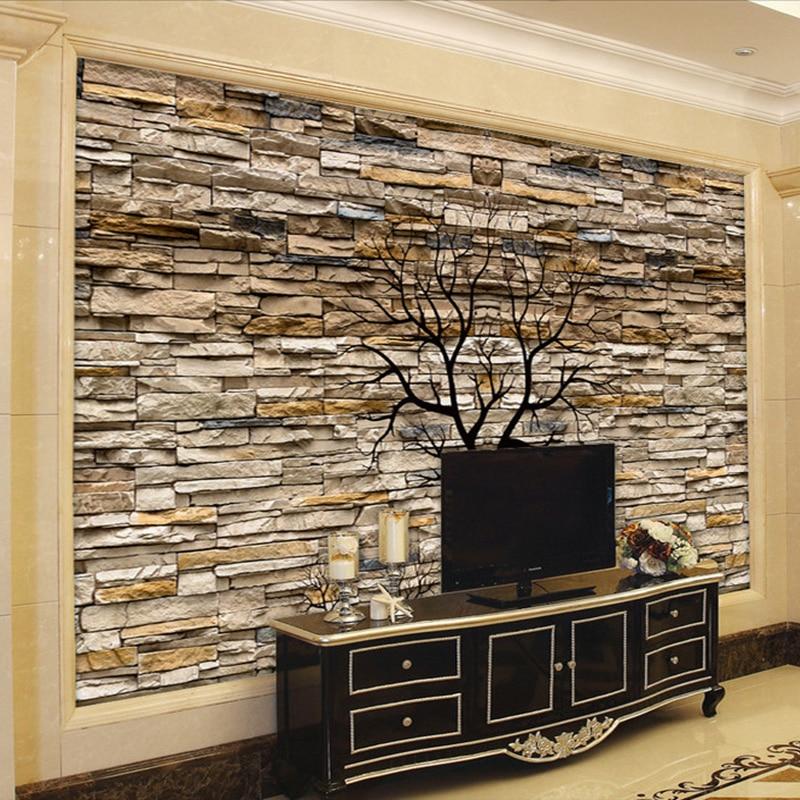 Custom Photo Wallpaper 3D Stone Wall Trunk Wallpaper ...